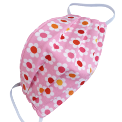 REVERSIBLE Triple Layer Face Mask - 100% cotton fabric - DAISY CHAIN PINK