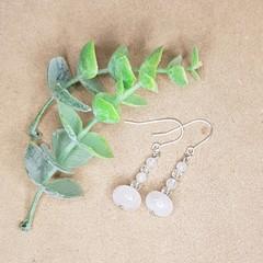 Silver Rose quartz and clear quartz dangle earring