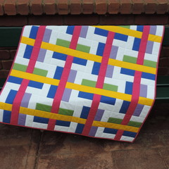 Bright Baby/Crib Quilt, The Traffic Jam Quilt, Handmade, Cotton Fabric