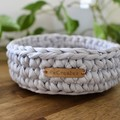 Light Grey-Crochet Basket/Tray- Mid/Medium size-home decor-recycled tshirt yarn