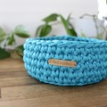 Teal-Crochet Basket- Medium size-home decor-storage-recycled tshirt yarn