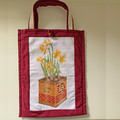TOTE BAG Daffodils cross-stitch. Lined.