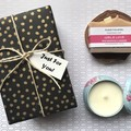 Christmas/Xmas Gift - select your 1 Handmade Soap with 1 Soy Candle -floral blue
