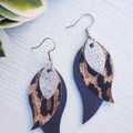 Stacked Leaf, Genuine Leather Earrings, Leopard/ Gunmetal Silver