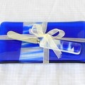 Fused Glass Plate and Cheese or Pate (butter) knife set, blue and white