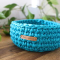 Teal-Crochet Basket- Medium size-home decor-storage-recycled tshirt yarn