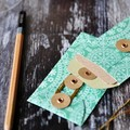 Button Tie Envelopes 4w cards Green Doily  | Handmade Long Coin Pockets