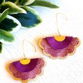 Scalloped Fan, Genuine Leather Earrings, Purple/Gold