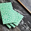 Button Tie Envelopes 4w cards Green Doily  | Handmade Long Coin Pockets