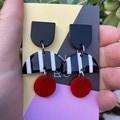 Black & white crescent & disc earrings