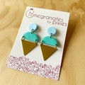 Kamile Statement Earrings in Pale Blue and Mint  with Brass Triangles