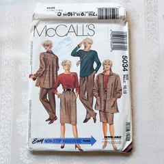 McCall's 5034, jacket top skirt and pants pattern, sizes 16 - 18, UNCUT pattern