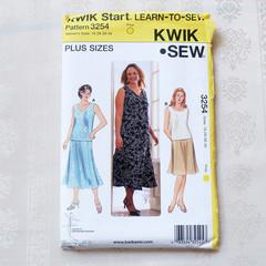 Kwik Sew 3254 Women's tops and skirts pattern, sizes 1X - 4X, UNCUT pattern