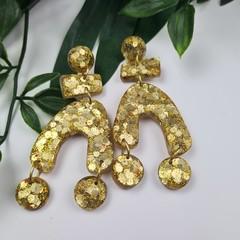 Old Gold Glitter Resin - MEGA Dangle earrings