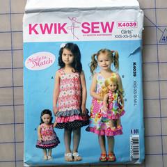 """Kwik Sew K4039, girls & 18"""" dolls jumper or pinafore pattern, sizes XXS-L, UNCUT"""