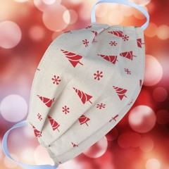 Triple Layer Face Mask - 100% cotton fabric - CHRISTMAS TREES