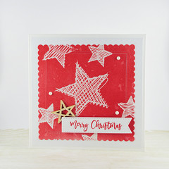 Merry Christmas Card, Scribble Stars, Red Christmas Card