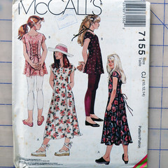 McCall's 7155, girls dress and leggings sizes 10 12 14, UNCUT sewing pattern
