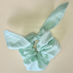 Green with White Dot Scrunchy with Bow