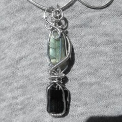 Raw Labradorite & Black Tourmaline pendant, Sterling silver wire wrapped