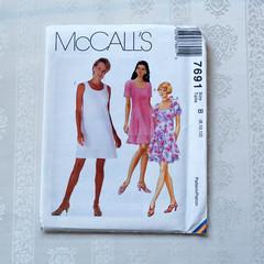 McCall's 7691, misses dress pattern, sizes 8 - 12, UNCUT sewing pattern