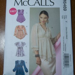 McCall's M6469, misses' gathered top pattern, Sizes XS - M, UNCUT