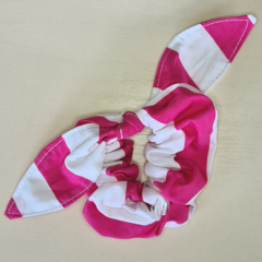 Pink Striped Scrunchy with Bow