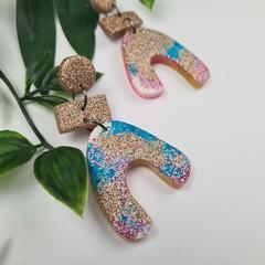U-Turn Stack - Rose Gold Teal Pink Glitter Resin - MEGA Dangle earrings