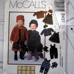 McCall's 2437 Toddlers jumper jacket hat and overalls pattern, Sizes 1-3, UNCUT