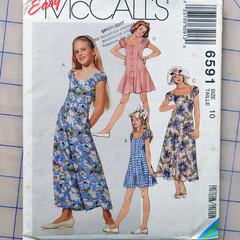 McCall's 6591, girls dress jumpsuit romper pattern, size  10, UNCUT