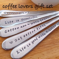 Coffee Lovers, Coffee Gift, Spoons Hand Stamped,Teaspoon, Coffee addict