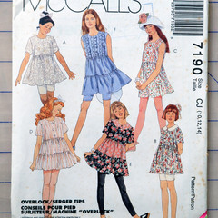 McCall's 7190, girls top leggings and shorts sizes 10 12 14, UNCUT pattern