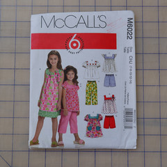 McCall's M6022, girls tops dresses shorts and pants pattern, sizes 7 - 14, UNCUT