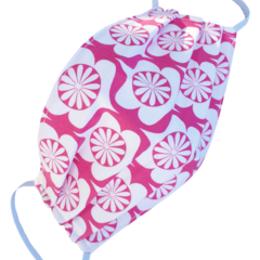 REVERSIBLE Triple Layer Face Mask - 100% cotton fabric - HOT PINK DECO
