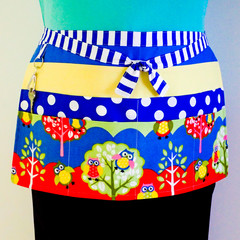 Teacher preschool vendor utility lined apron - 6 pockets - Owls