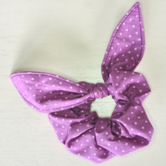 Purple with Pink Dot Scrunchy with Bow