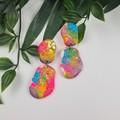 Rock Paper Scissors Pebble Glitter Resin - MEGA Dangle earrings