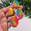 Rock Paper Scissors Pebble Glitter Resin - MEGA Dangle earrings
