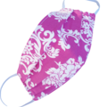 REVERSIBLE Triple Layer Face Mask - 100% cotton fabric - PINKY PURPLE FLORAL