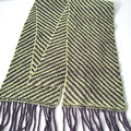 Handspun Pure Merino Wool Scarf,  Handwoven, Plum & Olive Green