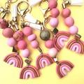 Pink rainbow key ring