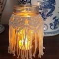 Handmade Macrame Jar Covers, set of 2