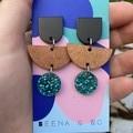 Crescent & disc earrings