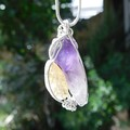 Amethyst & Citrine pendant, crystal points, sterling wire wrapped