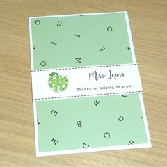 Personalised Teacher thank you Christmas card - green apple