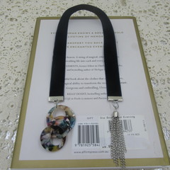 Bookmark Navy Velvet with retro rings and Chain Tassel perfect Teachers Gift