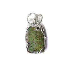 Australian Andamooka Matrix Opal green Sterling wire wrapped pendant