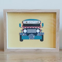 Framed Jeepney Paper Art Collage Print (15x20cm)