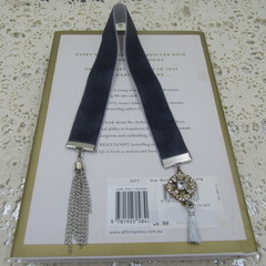 Bookmark Luxury Velvet - Charcoal with Diamante Charm and Tassel