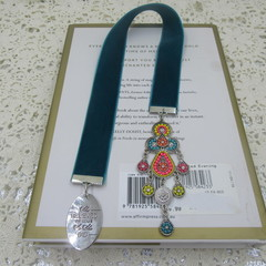Bookmark Luxury Velvet - Teal with Boho Beaded Tassel perfect Teachers Gift